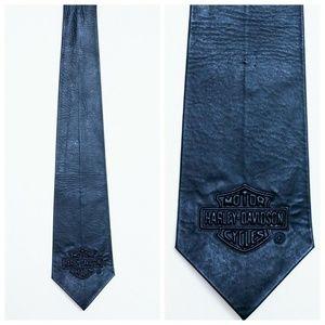 Harley Davidson Vintage Black Leather Men's Tie